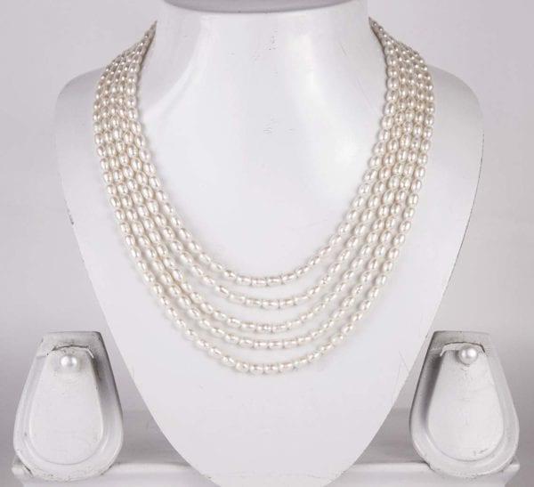 Five Line Oval Shaped Pearls Set (Kalgi)